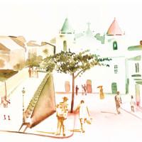Illustration for magazine. Theme: Historic Landscape. Technique: watercolor