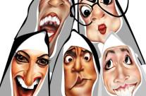 """Personagens do espetáculo teatral """"Noviças Rebeldes"""" – Técnica: pintura digital"""